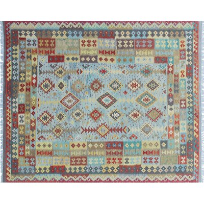 One-of-a-Kind Rucker Kilim Hand-Woven Grayish Blue Area Rug
