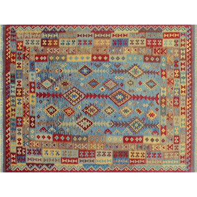 Aulay Kilim Hand-Woven Blue Premium Wool Area Rug