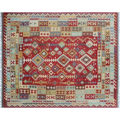 One-of-a-Kind Cortez Kilim Hand-Woven Brilliant Red Area Rug