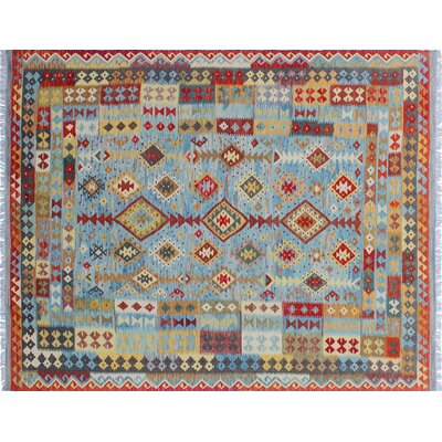 One-of-a-Kind Aulay Kilim Hand-Woven Blue Area Rug