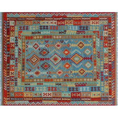 Vallejo Kilim Hand-Woven Blue Wool Area Rug