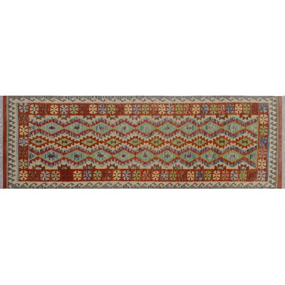 One-of-a-Kind Rucker Kilim Hand-Woven Runner Red Area Rug