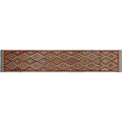 Cortez Kilim Hand-Woven Runner Blue Area Rug