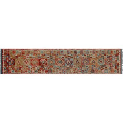Aulay Kilim Hand-Woven Runner Red Premium Wool Area Rug