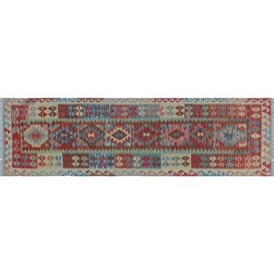 One-of-a-Kind Aulay Kilim Hand-Woven Green Area Rug