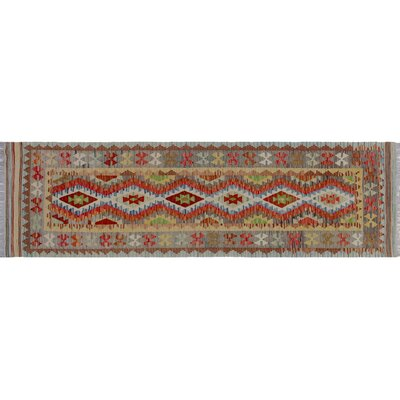 One-of-a-Kind Rucker Kilim Hand-Woven Gray Wool Area Rug