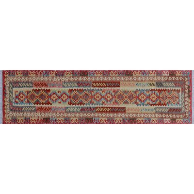Aulay Kilim Hand-Woven Runner Red Area Rug