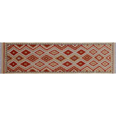One-of-a-Kind Vallejo Kilim Hand-Woven Gold Wool Area Rug