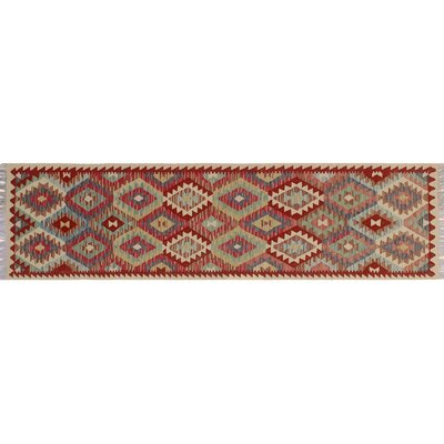 One-of-a-Kind Vallejo Kilim Hand-Woven Ivory Wool Area Rug
