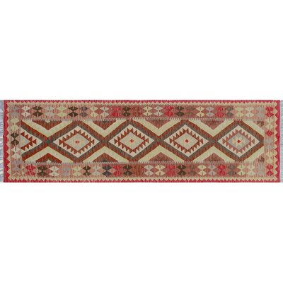 Aulay Southwestern Kilim Hand-Woven Runner Red Premium Wool Area Rug