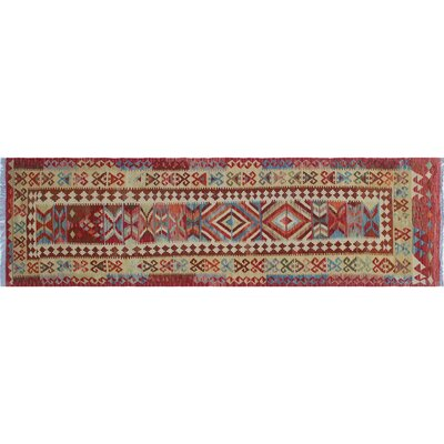 Vallejo Kilim Hand-Woven Runner Red Wool Area Rug