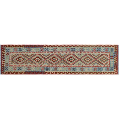 One-of-a-Kind Cortez Kilim Hand-Woven Rust Wool Area Rug