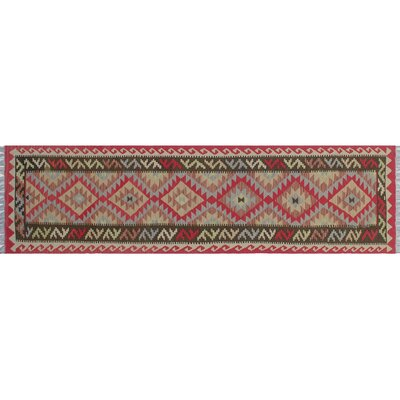 One-of-a-Kind Cortez Kilim Hand-Woven Zigzag Red Area Rug