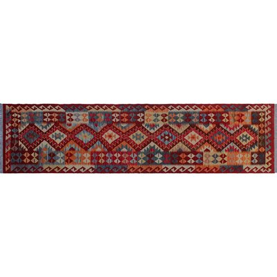 One-of-a-Kind Aulay Kilim Hand-Woven Runner Red Wool Area Rug