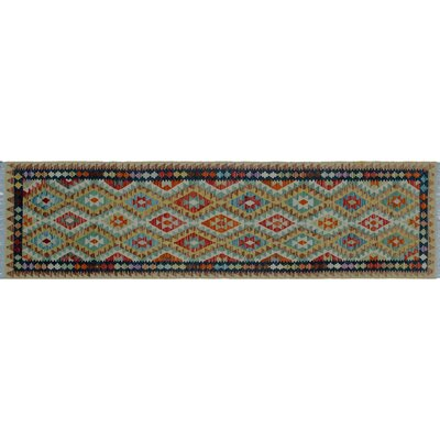One-of-a-Kind Rucker Kilim Geometric Hand-Woven Gold Wool Area Rug