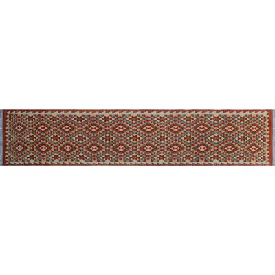 One-of-a-Kind Aulay Kilim Hand-Woven Indoor Runner Red Area Rug