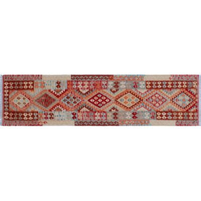 Aulay Kilim Hand-Woven Indoor Runner Red Wool Area Rug