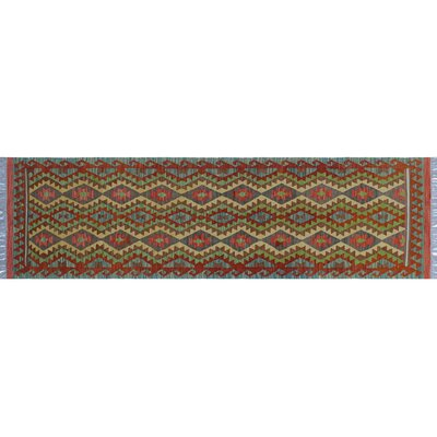 One-of-a-Kind Aulay Kilim Hand-Woven Runner Blue Area Rug