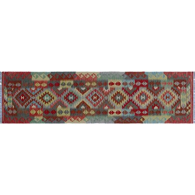One-of-a-Kind Aulay Kilim Hand-Woven Indoor Geometric Red Wool Area Rug