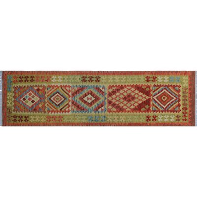 One-of-a-Kind Rucker Kilim Hand-Woven Green Wool Area Rug