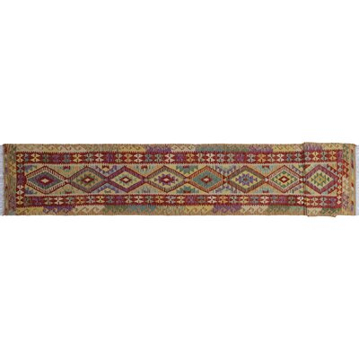 One-of-a-Kind Vallejo Kilim Geometric Hand-Woven Runner Red Area Rug