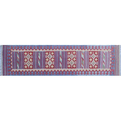 Cortez Kilim Hand-Woven Blue Wool Area Rug