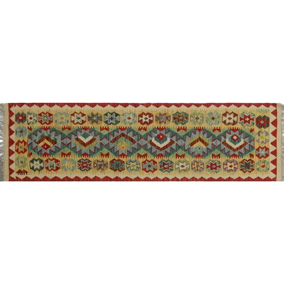 One-of-a-Kind Cortez Hand-Woven Runner Beige/Red Area Rug