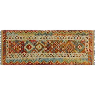 One-of-a-Kind Vallejo Kilim Southwestern Hand-Woven Rust Wool Area Rug