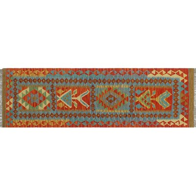 One-of-a-Kind Cortez Kilim Hand-Woven Rust Area Rug