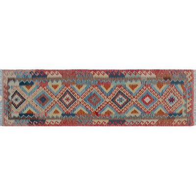 One-of-a-Kind Vallejo Kilim Southwestern Hand-Woven Runner Red Area Rug