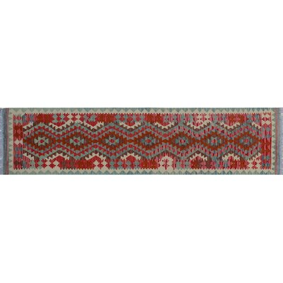 One-of-a-Kind Vallejo Kilim Hand-Woven Runner Red Indoor Area Rug