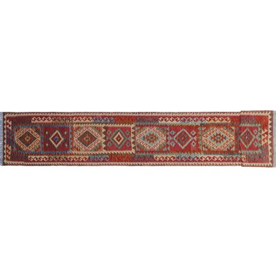 Vallejo Kilim Southwestern Hand-Woven Runner Red Wool Area Rug