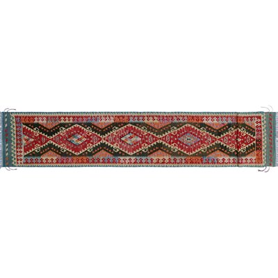 One-of-a-Kind Rucker Kilim Hand-Woven Red/Gray Area Rug