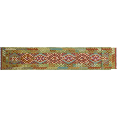 One-of-a-Kind Cortez Kilim Hand-Woven Runner Green Area Rug
