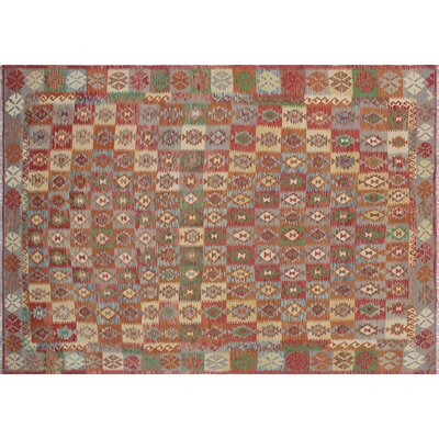 Aulay Kilim Geometric Hand-Woven Rectangle Rust Area Rug