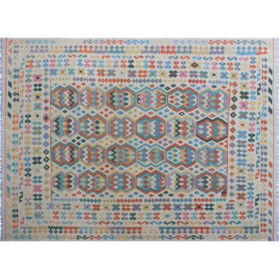 One-of-a-Kind Cortez Kilim Hand-Woven Ivory Indoor Area Rug