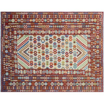 Aulay Kilim Hand-Woven Rectangle Ivory Wool Area Rug