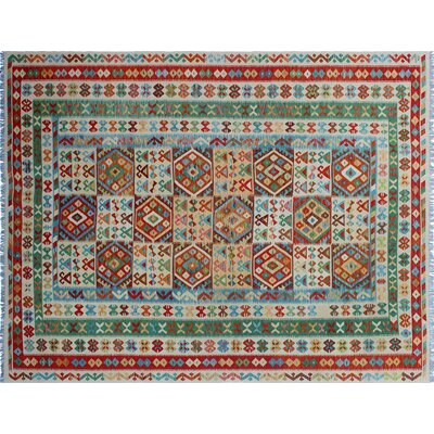 One-of-a-Kind Cortez Kilim Hand-Woven Southwestern Ivory Area Rug