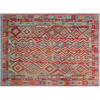 One-of-a-Kind Cortez Kilim Hand-Woven Flatweave Red Area Rug