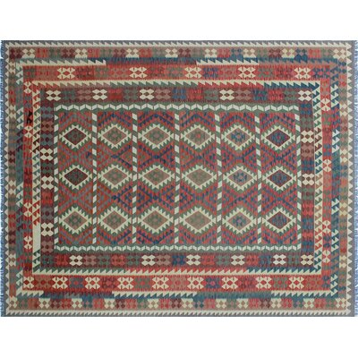 Aulay Kilim Geometric Hand-Woven Green Area Rug