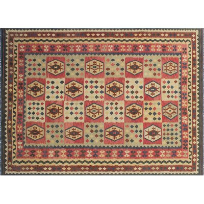 One-of-a-Kind Vallejo Kilim Hand-Woven Rectangle Green Area Rug