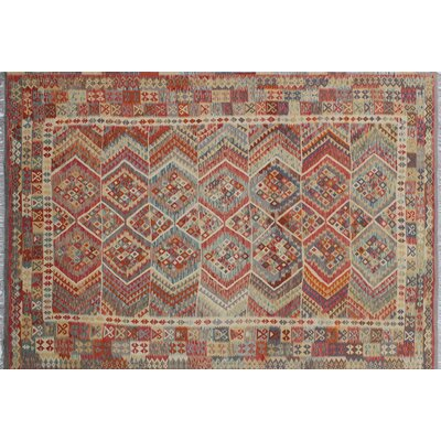 One-of-a-Kind Aulay Kilim Hand-Woven Rust Area Rug