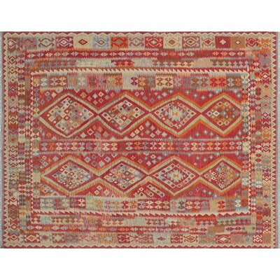 Aulay Kilim Hand-Woven Indoor Rectangle Red Wool Area Rug