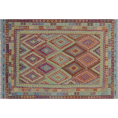 Cortez Kilim Hand-Woven Geometric Rectangle Red Area Rug