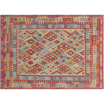 One-of-a-Kind Cortez Kilim Hand-Woven Geometric Patchwork Red Area Rug
