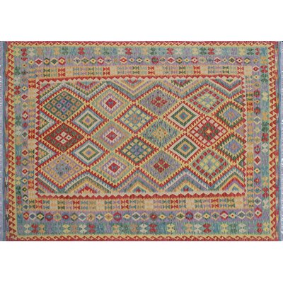 One-of-a-Kind Cortez Kilim Hand-Woven Patchwork Red Area Rug