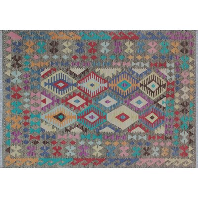One-of-a-Kind Cortez Kilim Hand-Woven Beige Wool Area Rug