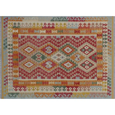 One-of-a-Kind Cortez Kilim Hand-Woven Geometric Red Area Wool Rug