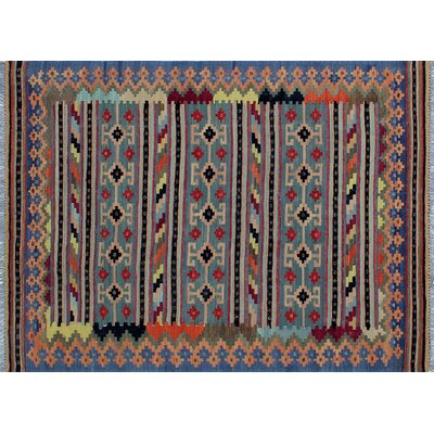 Vallejo Kilim Hand-Woven Rectangle Blue Wool Area Rug