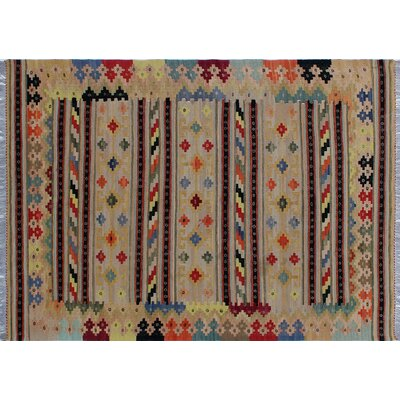 One-of-a-Kind Rucker Kilim Hand-Woven Beige Area Rug